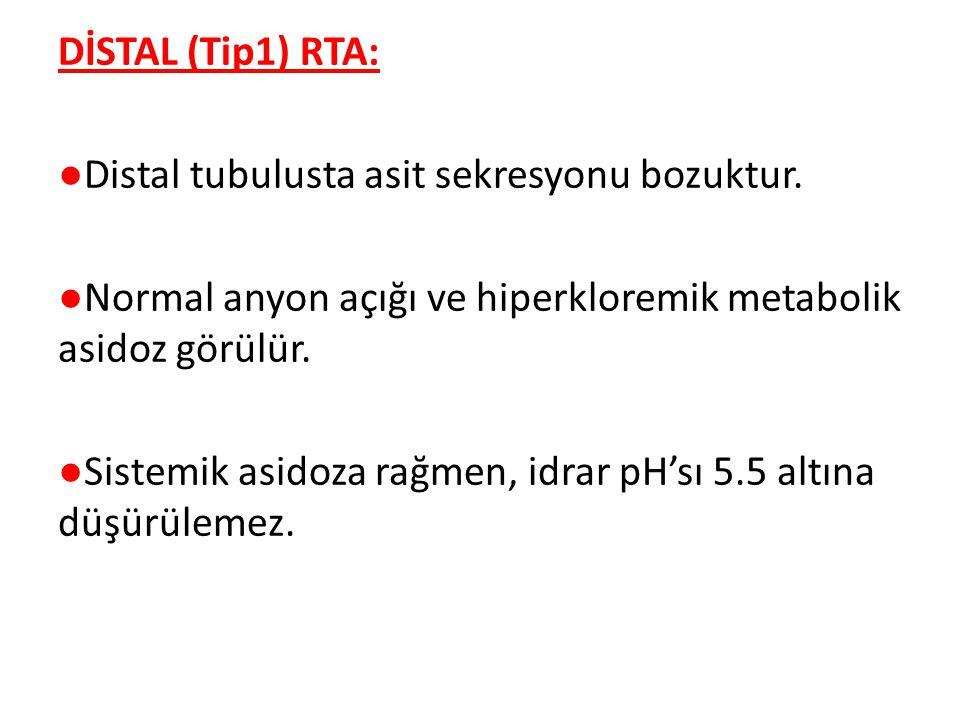 DİSTAL (Tip1) RTA: ●Distal tubulusta asit sekresyonu bozuktur.