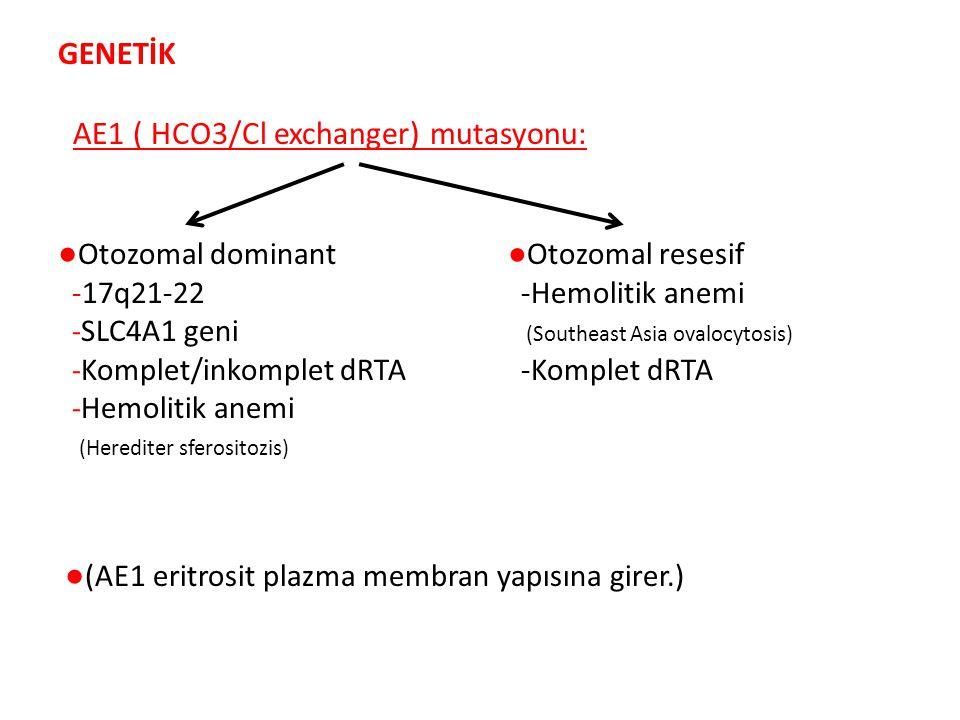 GENETİK AE1 ( HCO3/Cl exchanger) mutasyonu: ● Otozomal dominant ●Otozomal resesif -17q21-22 -Hemolitik anemi - SLC4A1 geni (Southeast Asia ovalocytosis) - Komplet/inkomplet dRTA -Komplet dRTA - Hemolitik anemi (Herediter sferositozis) ● (AE1 eritrosit plazma membran yapısına girer.)