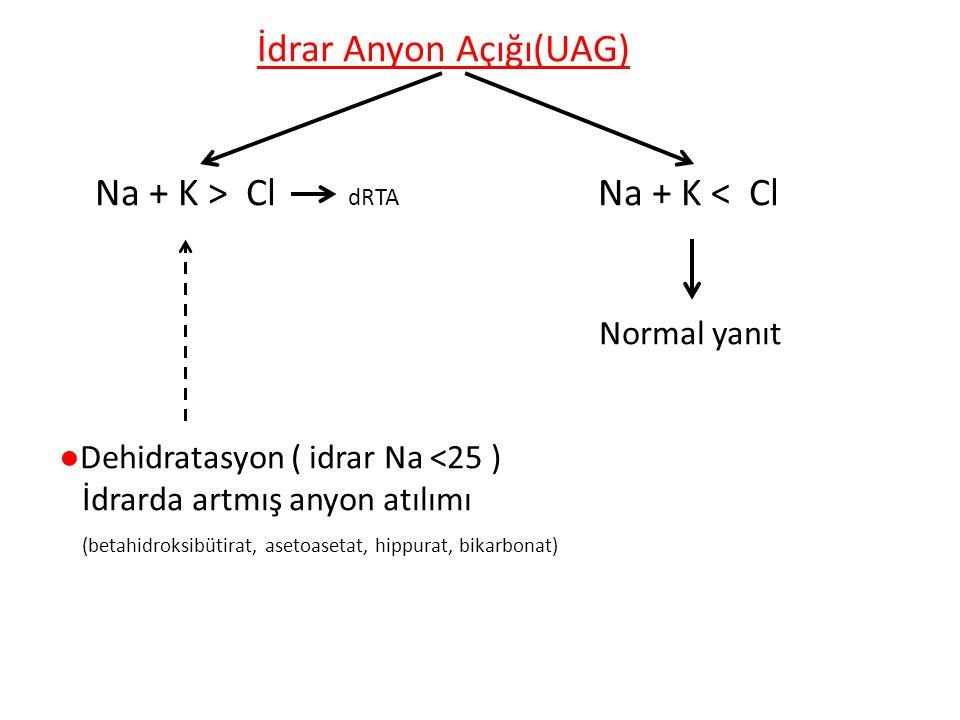 İdrar Anyon Açığı(UAG) Na + K > Cl dRTA Na + K < Cl Normal yanıt ●Dehidratasyon ( idrar Na <25 ) İdrarda artmış anyon atılımı (betahidroksibütirat, asetoasetat, hippurat, bikarbonat)