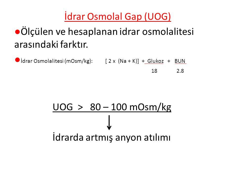 İdrar Osmolal Gap (UOG) ●Ölçülen ve hesaplanan idrar osmolalitesi arasındaki farktır.