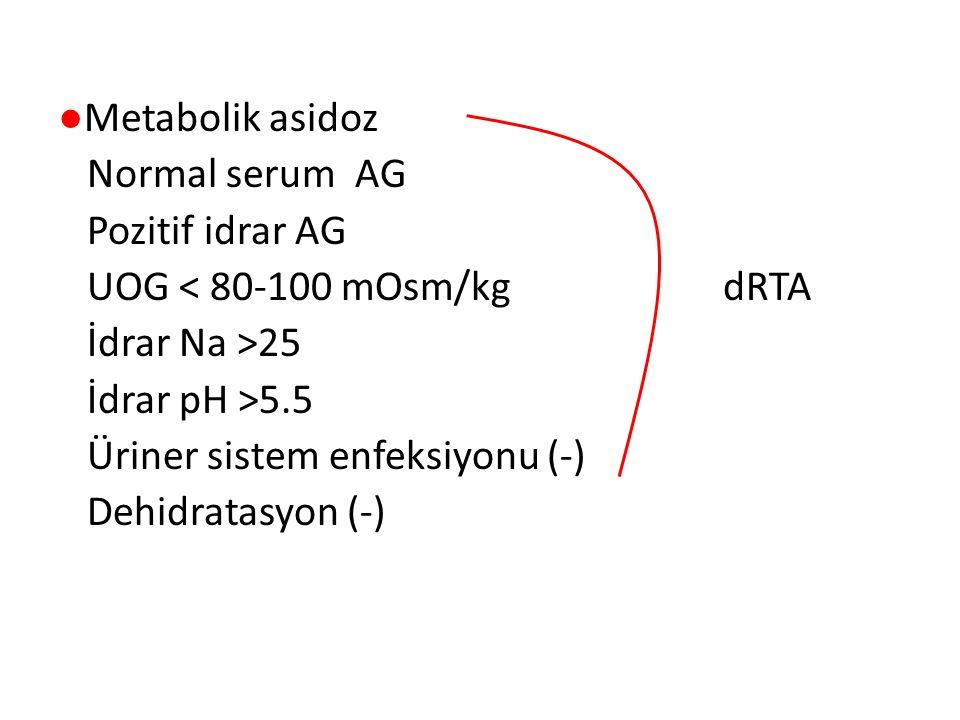 ●Metabolik asidoz Normal serum AG Pozitif idrar AG UOG < 80-100 mOsm/kg dRTA İdrar Na >25 İdrar pH >5.5 Üriner sistem enfeksiyonu (-) Dehidratasyon (-)