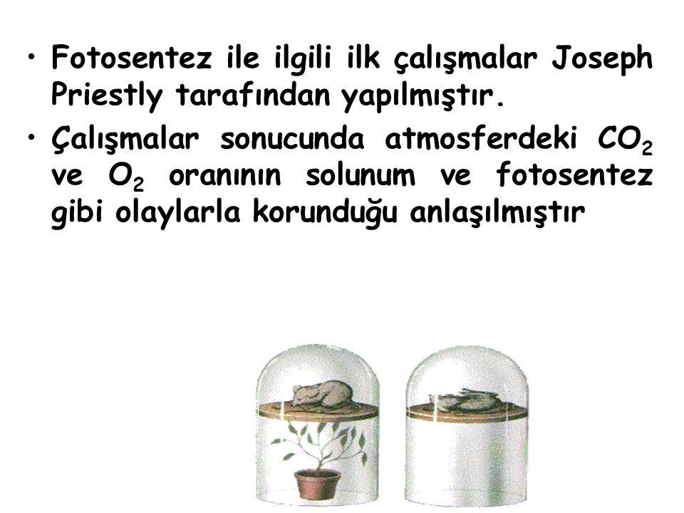 Fotosentez ile ilgili ilk çalışmalar Joseph Priestly tarafından yapılmıştır. Çalışmalar sonucunda atmosferdeki CO 2 ve O 2 oranının solunum ve fotosen