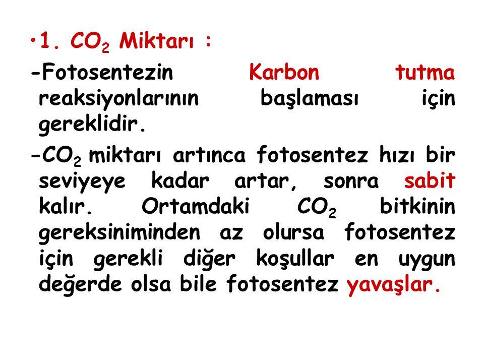 1. CO 2 Miktarı : -Fotosentezin Karbon tutma reaksiyonlarının başlaması için gereklidir. -CO 2 miktarı artınca fotosentez hızı bir seviyeye kadar arta