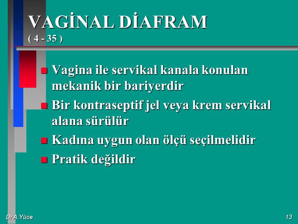 Dr.A.Yüce13 VAGİNAL DİAFRAM ( 4 - 35 ) n Vagina ile servikal kanala konulan mekanik bir bariyerdir n Bir kontraseptif jel veya krem servikal alana sür