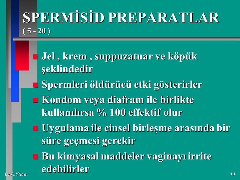 Dr.A.Yüce14 SPERMİSİD PREPARATLAR ( 5 - 20 ) n Jel, krem, suppuzatuar ve köpük şeklindedir n Spermleri öldürücü etki gösterirler n Kondom veya diafram