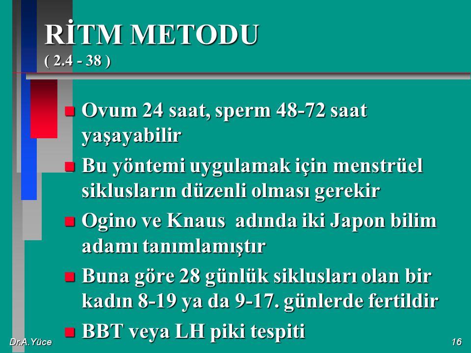 Dr.A.Yüce16 RİTM METODU ( 2.4 - 38 ) n Ovum 24 saat, sperm 48-72 saat yaşayabilir n Bu yöntemi uygulamak için menstrüel siklusların düzenli olması ger