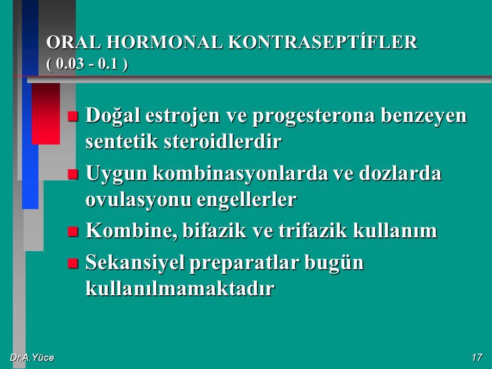 Dr.A.Yüce17 ORAL HORMONAL KONTRASEPTİFLER ( 0.03 - 0.1 ) n Doğal estrojen ve progesterona benzeyen sentetik steroidlerdir n Uygun kombinasyonlarda ve