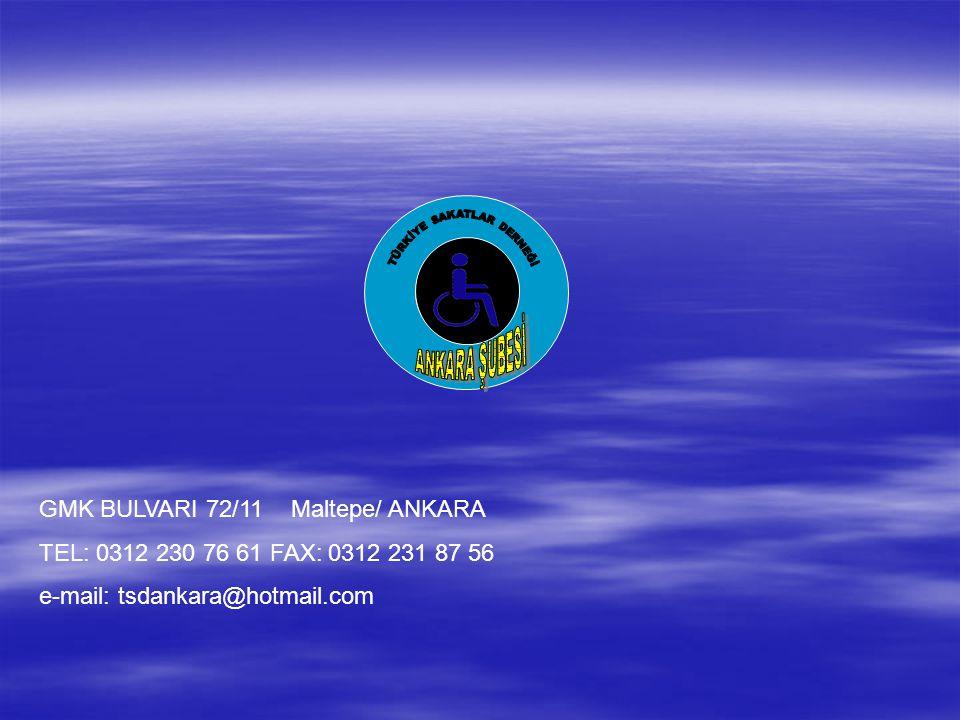 GMK BULVARI 72/11 Maltepe/ ANKARA TEL: 0312 230 76 61 FAX: 0312 231 87 56 e-mail: tsdankara@hotmail.com