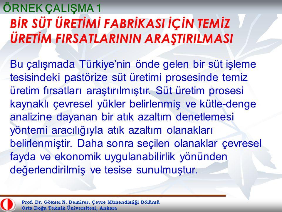 Prof. Dr. Göksel N. Demirer, Çevre Mühendisliği Bölümü Orta Doğu Teknik Üniversitesi, Ankara BİR SÜT ÜRETİMİ FABRİKASI İÇİN TEMİZ ÜRETİM FIRSATLARININ