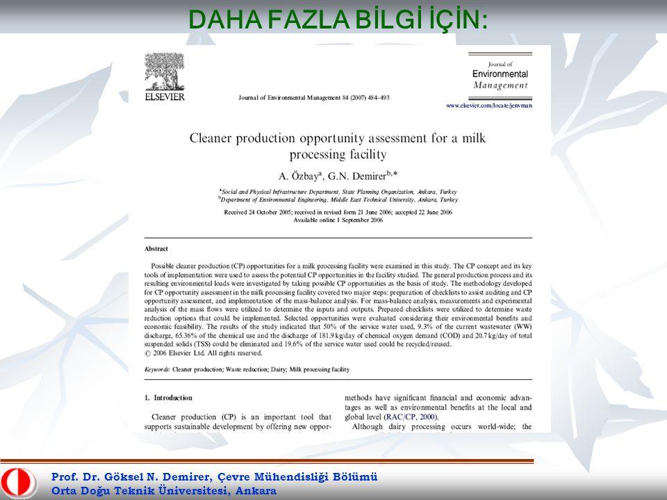 Prof. Dr. Göksel N. Demirer, Çevre Mühendisliği Bölümü Orta Doğu Teknik Üniversitesi, Ankara DAHA FAZLA BİLGİ İÇİN: