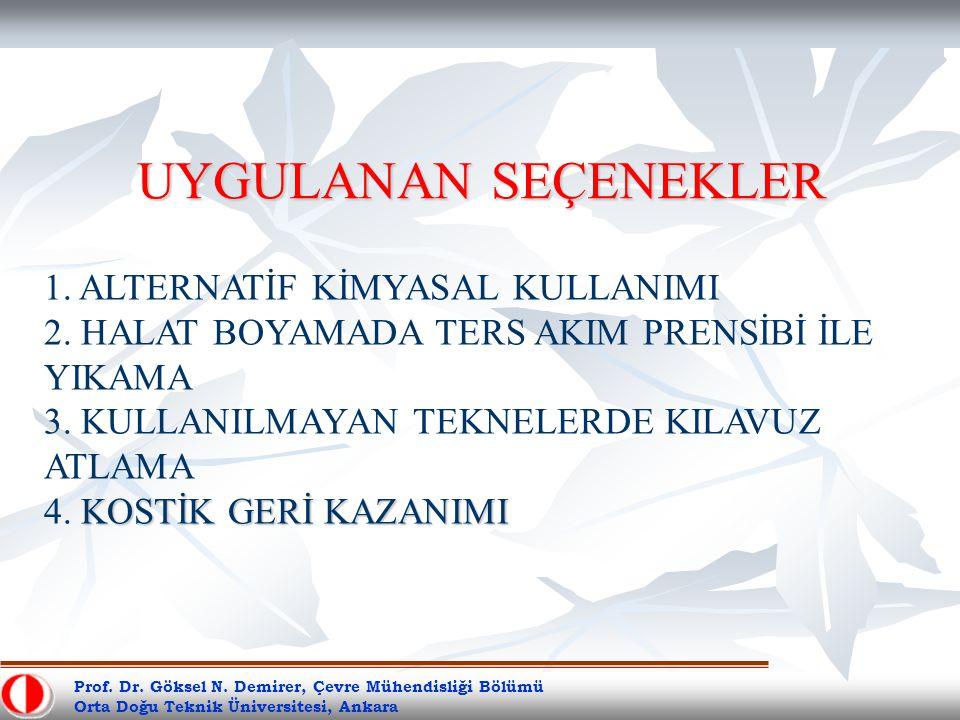 Prof. Dr. Göksel N. Demirer, Çevre Mühendisliği Bölümü Orta Doğu Teknik Üniversitesi, Ankara UYGULANAN SEÇENEKLER KOSTİK GERİ KAZANIMI 1. ALTERNATİF K