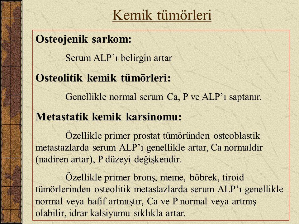 Kemik tümörleri Osteojenik sarkom: Serum ALP'ı belirgin artar Osteolitik kemik tümörleri: Genellikle normal serum Ca, P ve ALP'ı saptanır. Metastatik