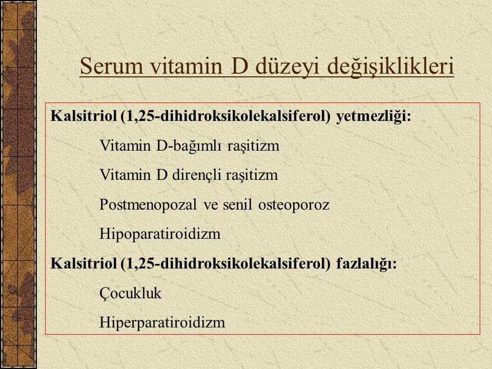 Serum vitamin D düzeyi değişiklikleri Kalsitriol (1,25-dihidroksikolekalsiferol) yetmezliği: Vitamin D-bağımlı raşitizm Vitamin D dirençli raşitizm Po