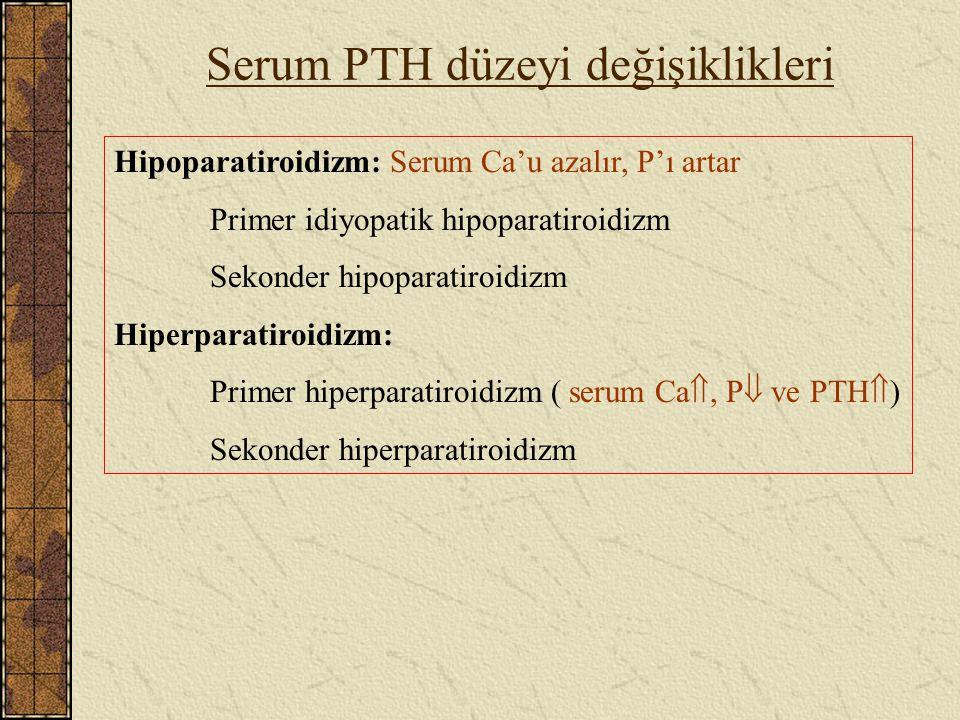 Serum PTH düzeyi değişiklikleri Hipoparatiroidizm: Serum Ca'u azalır, P'ı artar Primer idiyopatik hipoparatiroidizm Sekonder hipoparatiroidizm Hiperpa