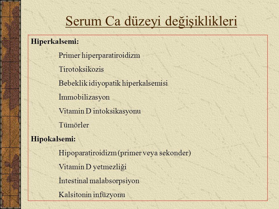 Serum Ca düzeyi değişiklikleri Hiperkalsemi: Primer hiperparatiroidizm Tirotoksikozis Bebeklik idiyopatik hiperkalsemisi İmmobilizasyon Vitamin D into