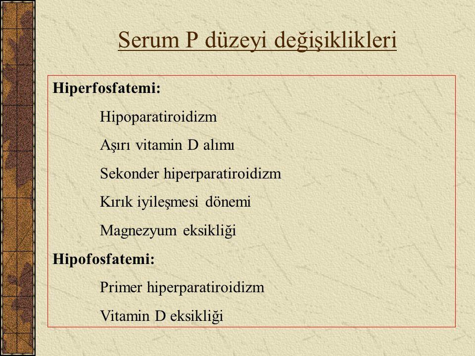 Serum P düzeyi değişiklikleri Hiperfosfatemi: Hipoparatiroidizm Aşırı vitamin D alımı Sekonder hiperparatiroidizm Kırık iyileşmesi dönemi Magnezyum ek