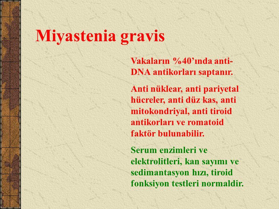 Miyastenia gravis Vakaların %40'ında anti- DNA antikorları saptanır. Anti nüklear, anti pariyetal hücreler, anti düz kas, anti mitokondriyal, anti tir