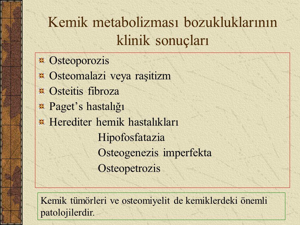 Kemik metabolizması bozukluklarının klinik sonuçları Osteoporozis Osteomalazi veya raşitizm Osteitis fibroza Paget's hastalığı Herediter hemik hastalı