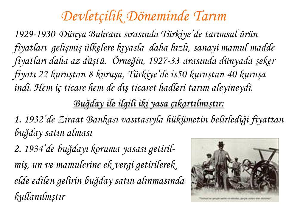 1929-1930 Dünya Buhranı sırasında Türkiye'de tarımsal ürün fiyatları gelişmiş ülkelere kıyasla daha hızlı, sanayi mamul madde fiyatları daha az düştü.