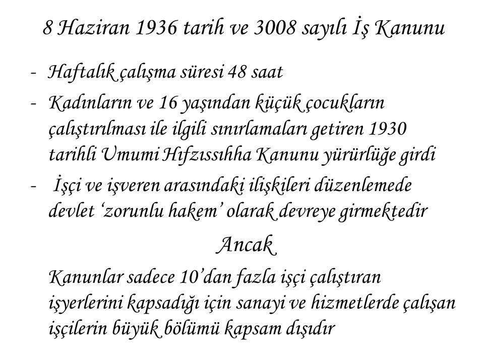 8 Haziran 1936 tarih ve 3008 sayılı İş Kanunu -Haftalık çalışma süresi 48 saat -Kadınların ve 16 yaşından küçük çocukların çalıştırılması ile ilgili s