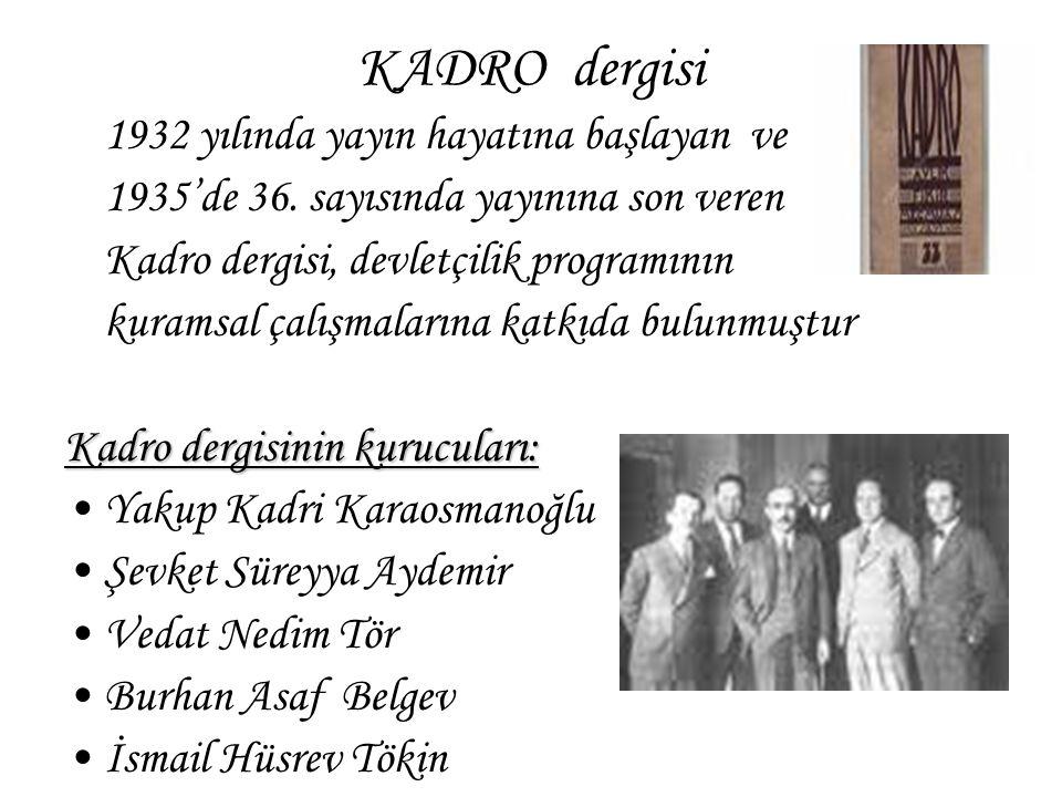 KADRO dergisi 1932 yılında yayın hayatına başlayan ve 1935'de 36. sayısında yayınına son veren Kadro dergisi, devletçilik programının kuramsal çalışma