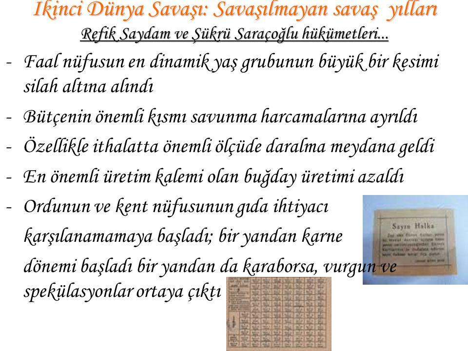 İkinci Dünya Savaşı: Savaşılmayan savaş yılları Refik Saydam ve Şükrü Saraçoğlu hükümetleri... -Faal nüfusun en dinamik yaş grubunun büyük bir kesimi
