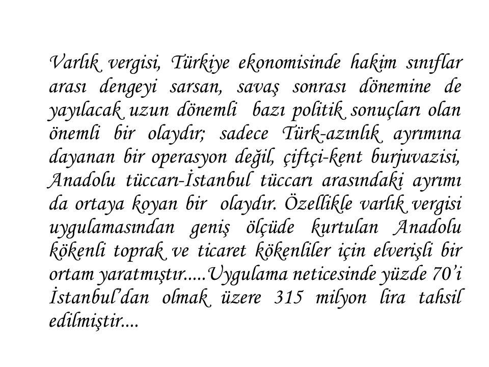 Varlık vergisi, Türkiye ekonomisinde hakim sınıflar arası dengeyi sarsan, savaş sonrası dönemine de yayılacak uzun dönemli bazı politik sonuçları olan