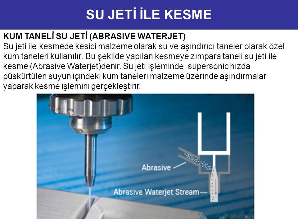 KUM TANELİ SU JETİ (ABRASIVE WATERJET) Su jeti ile kesmede kesici malzeme olarak su ve aşındırıcı taneler olarak özel kum taneleri kullanılır. Bu şeki