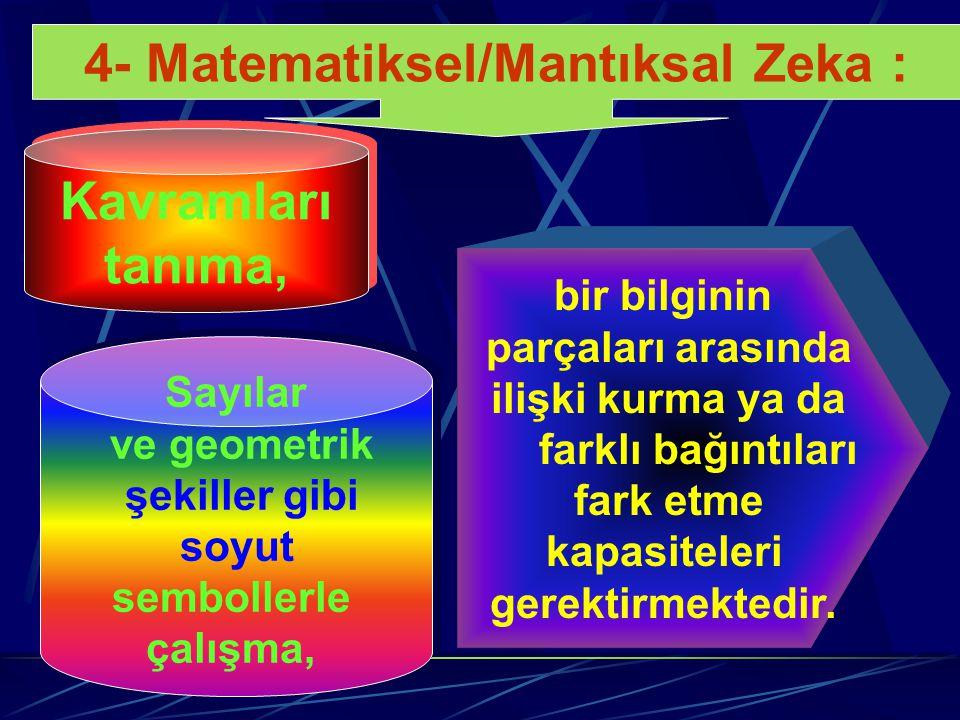 4- Matematiksel/Mantıksal Zeka : Bilimsel düşünme, objektif gözlem yapma, elde edilen verilerden sonuç çıkarma, yargıya varma ve hipotez kurma yetenek