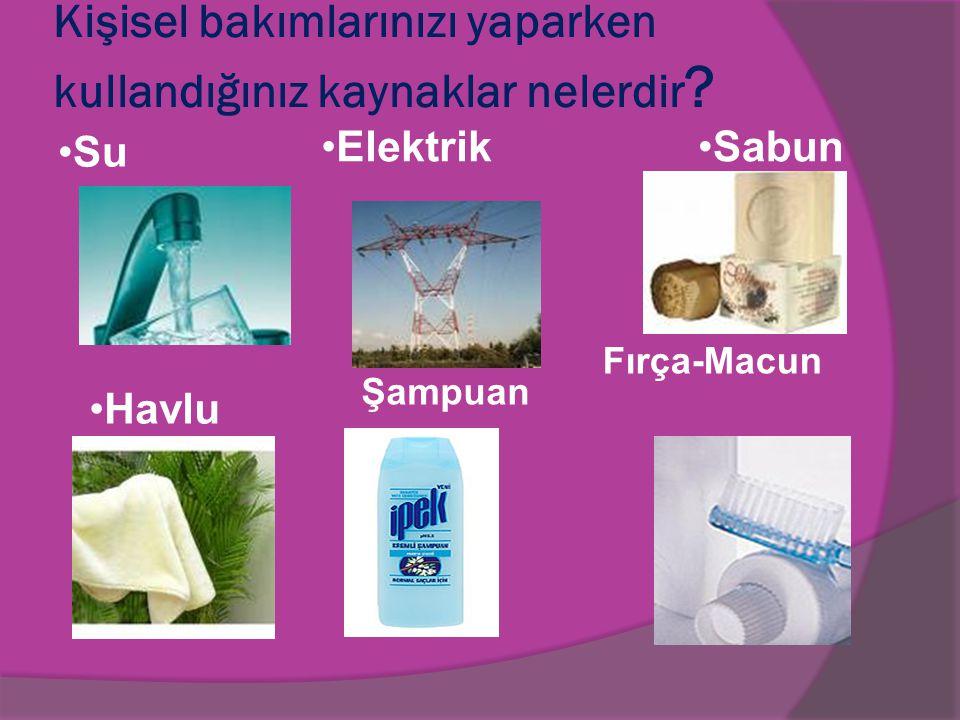 Kişisel bakımlarınızı yaparken kullandığınız kaynaklar nelerdir ? Su ElektrikSabun Havlu Şampuan Fırça-Macun