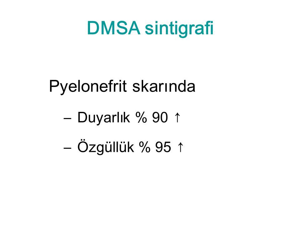 DMSA sintigrafi Pyelonefrit skarında – Duyarlık % 90 ↑ – Özgüllük % 95 ↑