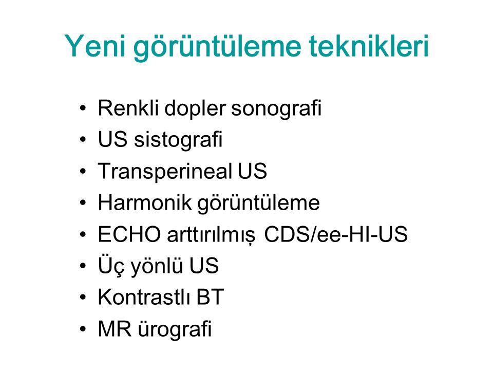 Yeni görüntüleme teknikleri Renkli dopler sonografi US sistografi Transperineal US Harmonik görüntüleme ECHO arttırılmış CDS/ee-HI-US Üç yönlü US Kontrastlı BT MR ürografi