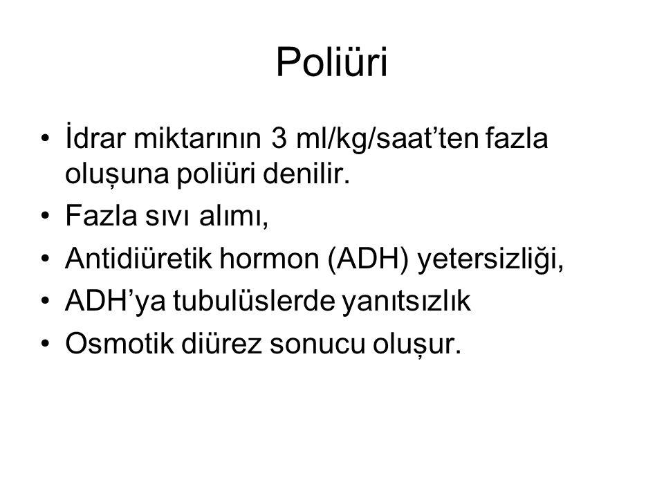 Poliüri İdrar miktarının 3 ml/kg/saat'ten fazla oluşuna poliüri denilir. Fazla sıvı alımı, Antidiüretik hormon (ADH) yetersizliği, ADH'ya tubulüslerde