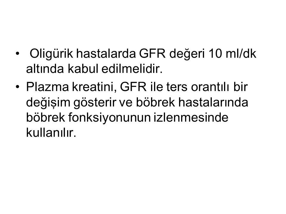 Oligürik hastalarda GFR değeri 10 ml/dk altında kabul edilmelidir. Plazma kreatini, GFR ile ters orantılı bir değişim gösterir ve böbrek hastalarında