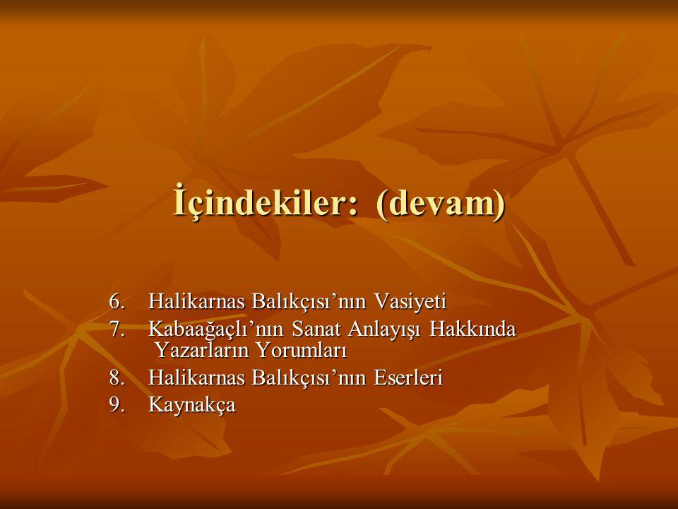 İçindekiler:(devam) 6. Halikarnas Balıkçısı'nın Vasiyeti 7. Kabaağaçlı'nın Sanat Anlayışı Hakkında Yazarların Yorumları 8. Halikarnas Balıkçısı'nın Es