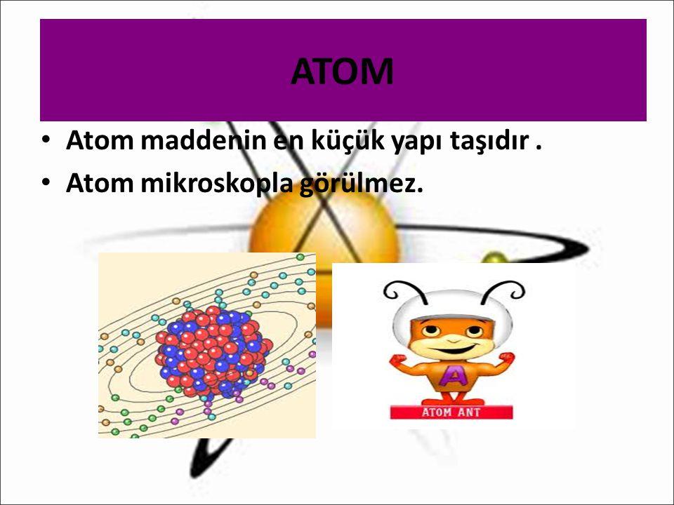 ATOM Atom maddenin en küçük yapı taşıdır. Atom mikroskopla görülmez.