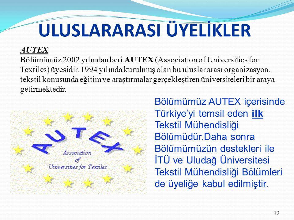 ULUSLARARASI ÜYELİKLER AUTEX Bölümümüz 2002 yılından beri AUTEX (Association of Universities for Textiles) üyesidir. 1994 yılında kurulmuş olan bu ulu