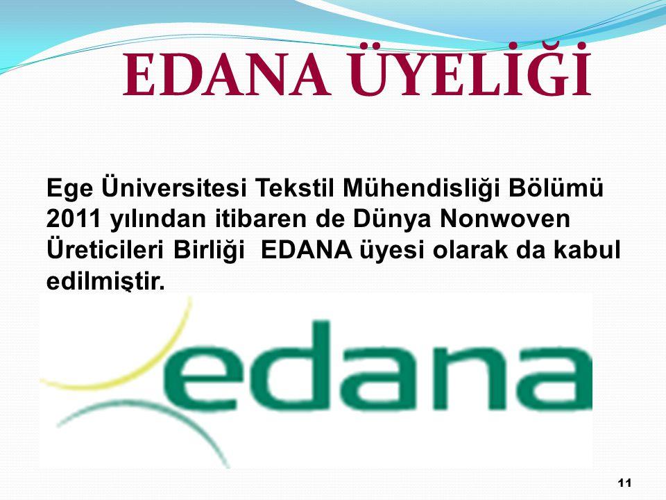 EDANA ÜYELİĞİ Ege Üniversitesi Tekstil Mühendisliği Bölümü 2011 yılından itibaren de Dünya Nonwoven Üreticileri Birliği EDANA üyesi olarak da kabul ed