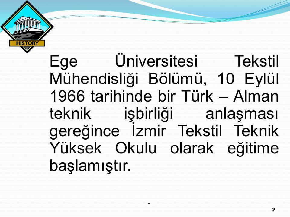 2 Ege Üniversitesi Tekstil Mühendisliği Bölümü, 10 Eylül 1966 tarihinde bir Türk – Alman teknik işbirliği anlaşması gereğince İzmir Tekstil Teknik Yük