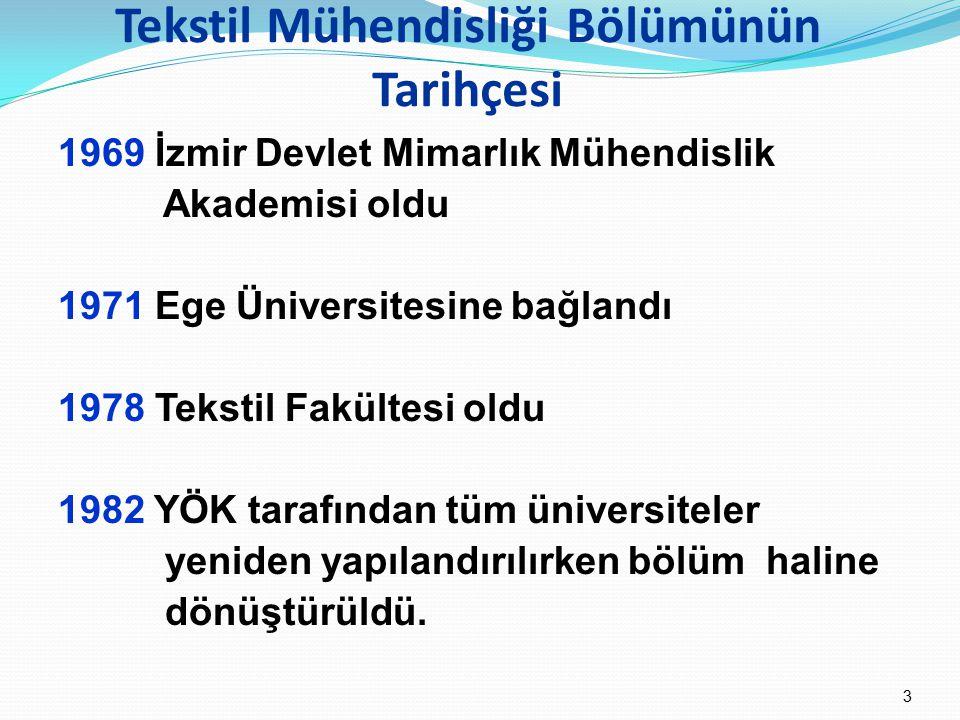 Tekstil Mühendisliği Bölümünün Tarihçesi 1969 İzmir Devlet Mimarlık Mühendislik Akademisi oldu 1971 Ege Üniversitesine bağlandı 1978 Tekstil Fakültesi