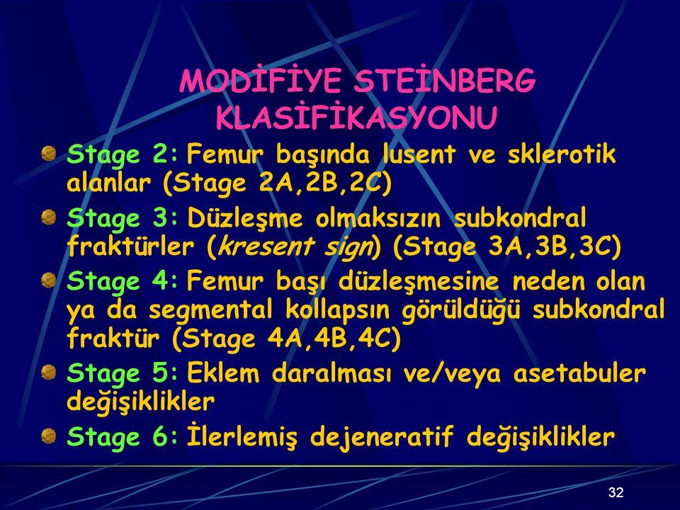 32 MODİFİYE STEİNBERG KLASİFİKASYONU Stage 2: Femur başında lusent ve sklerotik alanlar (Stage 2A,2B,2C) Stage 3: Düzleşme olmaksızın subkondral frakt
