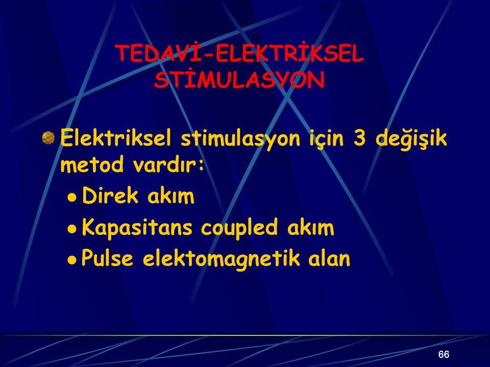 66 TEDAVİ-ELEKTRİKSEL STİMULASYON Elektriksel stimulasyon için 3 değişik metod vardır: Direk akım Kapasitans coupled akım Pulse elektomagnetik alan