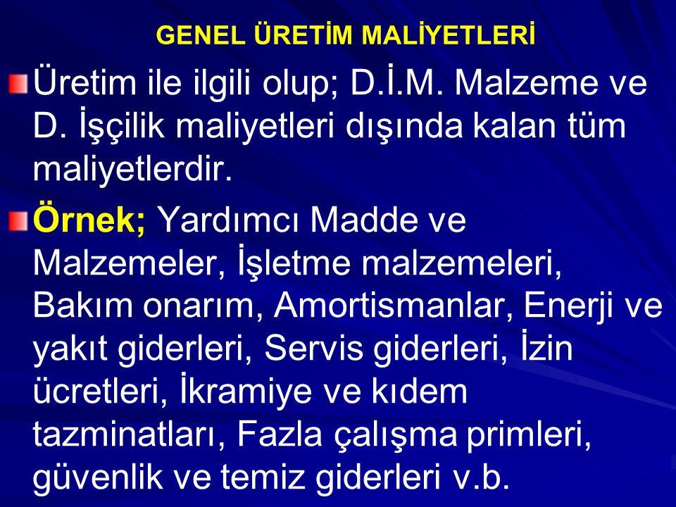 GENEL ÜRETİM MALİYETLERİ Üretim ile ilgili olup; D.İ.M.