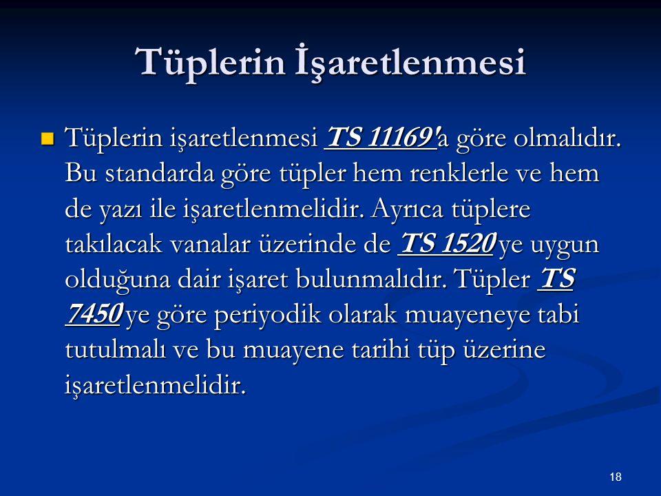 18 Tüplerin İşaretlenmesi Tüplerin işaretlenmesi TS 11169'a göre olmalıdır. Bu standarda göre tüpler hem renklerle ve hem de yazı ile işaretlenmelidir