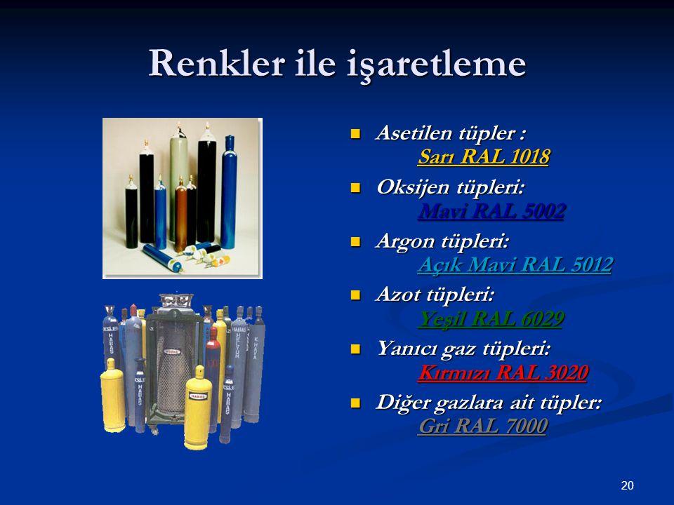 20 Renkler ile işaretleme Asetilen tüpler : Sarı RAL 1018 Oksijen tüpleri: Mavi RAL 5002 Argon tüpleri: Açık Mavi RAL 5012 Azot tüpleri: Yeşil RAL 602