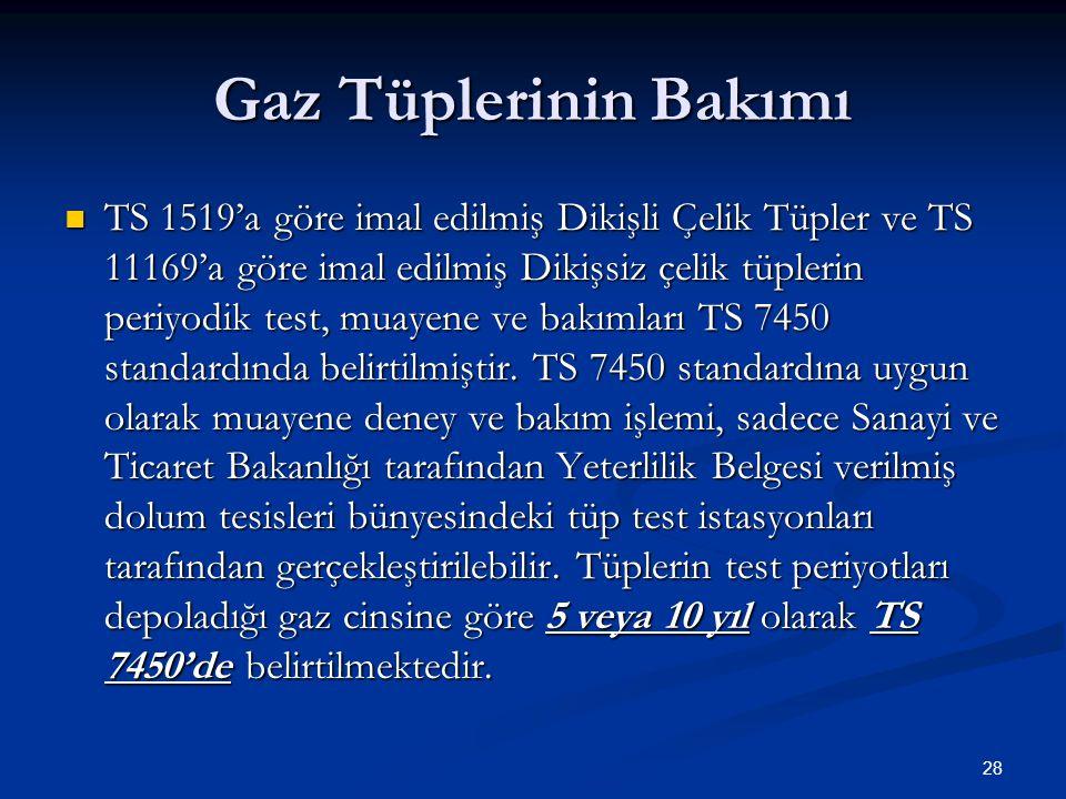 28 Gaz Tüplerinin Bakımı TS 1519'a göre imal edilmiş Dikişli Çelik Tüpler ve TS 11169'a göre imal edilmiş Dikişsiz çelik tüplerin periyodik test, muay