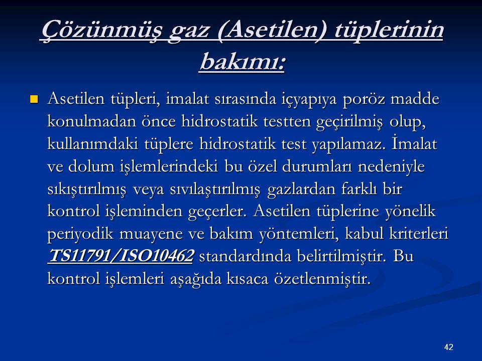 42 Çözünmüş gaz (Asetilen) tüplerinin bakımı: Asetilen tüpleri, imalat sırasında içyapıya poröz madde konulmadan önce hidrostatik testten geçirilmiş o