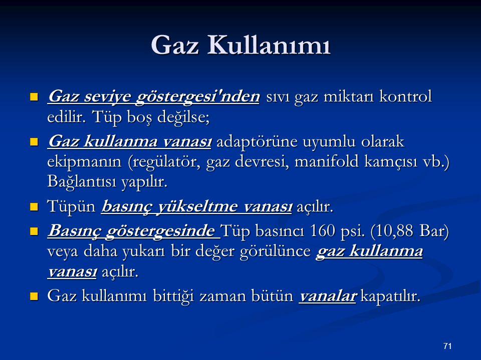 71 Gaz Kullanımı Gaz seviye göstergesi'nden sıvı gaz miktarı kontrol edilir. Tüp boş değilse; Gaz seviye göstergesi'nden sıvı gaz miktarı kontrol edil