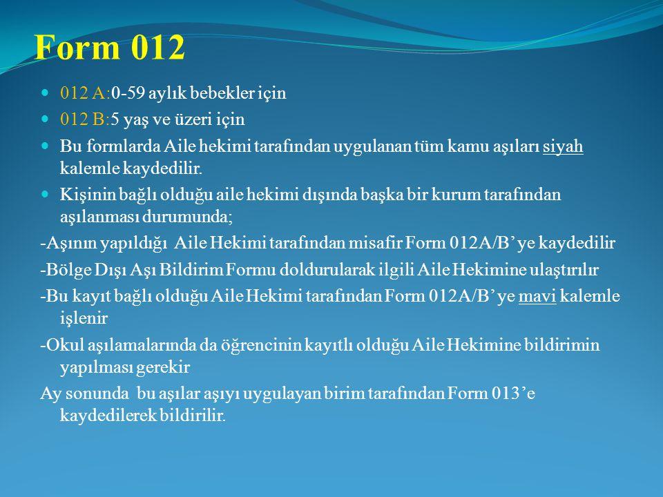 Form 012 012 A:0-59 aylık bebekler için 012 B:5 yaş ve üzeri için Bu formlarda Aile hekimi tarafından uygulanan tüm kamu aşıları siyah kalemle kaydedi