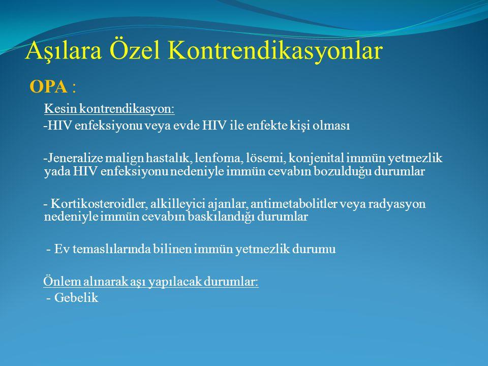 Aşılara Özel Kontrendikasyonlar OPA : Kesin kontrendikasyon: -HIV enfeksiyonu veya evde HIV ile enfekte kişi olması -Jeneralize malign hastalık, lenfo